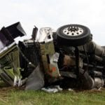 An overturned semi. Call our Tennessee truck accident attorneys today.