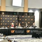 Members of the University of Tennessee board of trustees subcommittee on student conduct, rights and responsibilities discuss proposed changes to the student code of conduct on Tuesday, March 28, 2017. (Photo: Rachel Ohm/ News Sentinel.)