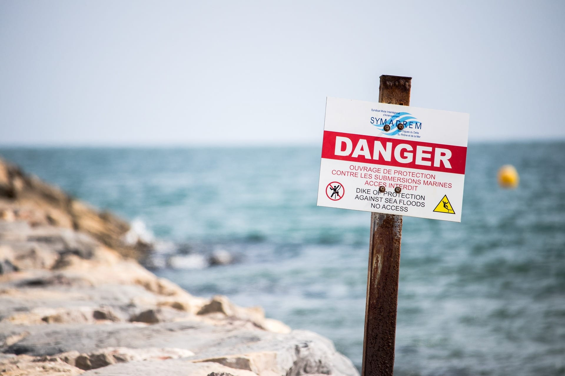 a danger sign at sea warns of potential risks. Failure to warn is a common theory of products liability law.