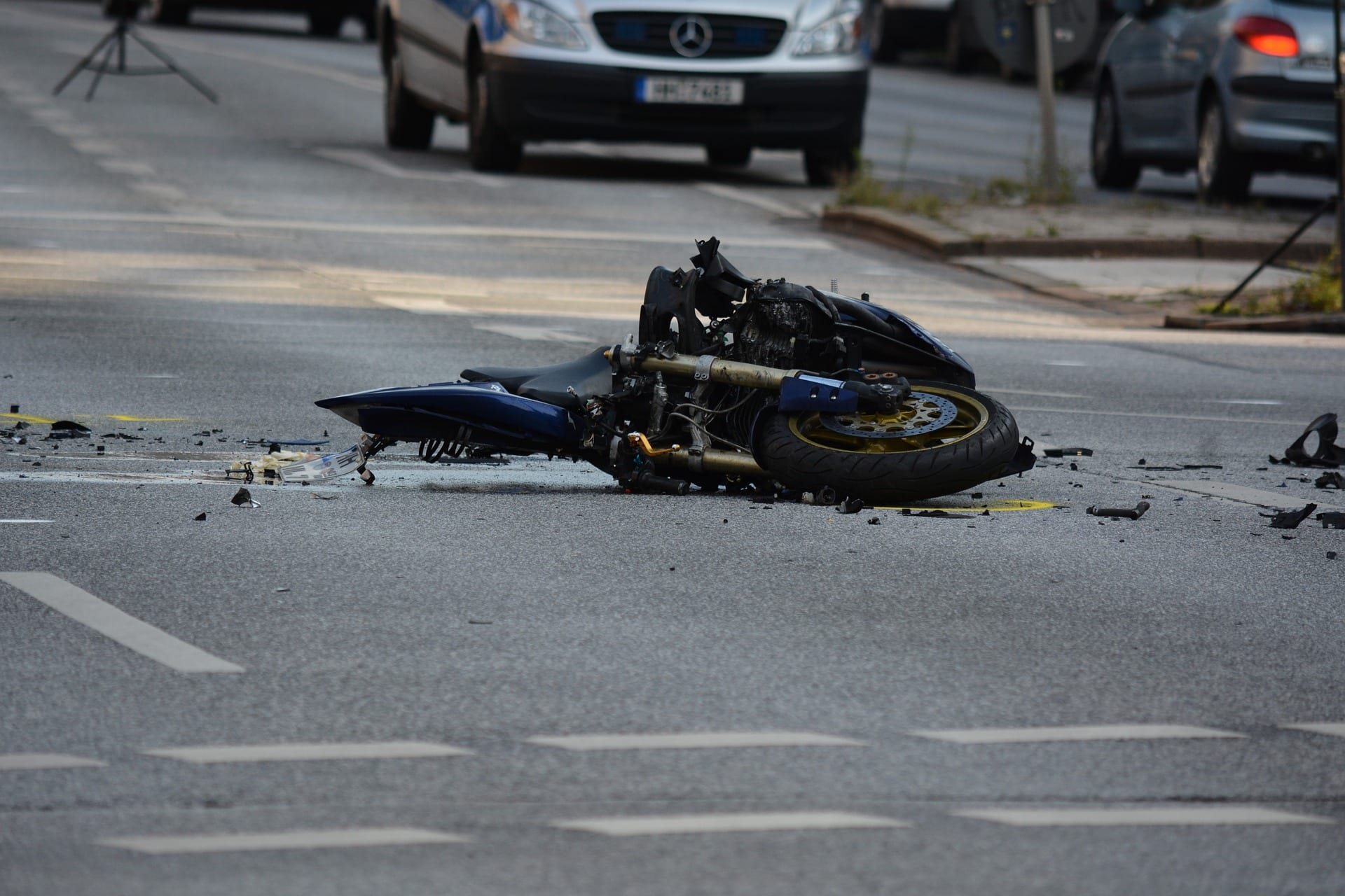 Fragments of a motorcycle after a crash. Contact our Tennessee motorcycle accident attorneys today.