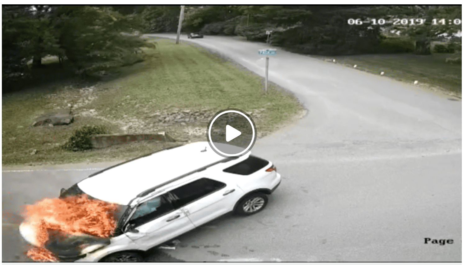 A smoking SUV after a bizarre car accident