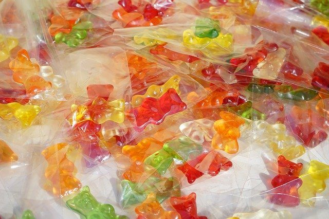 A pile of packaged gummy bears.